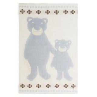 Høie Bamsebjörn barnpläd, ljusblå 100% ull www.globalxdesign.com