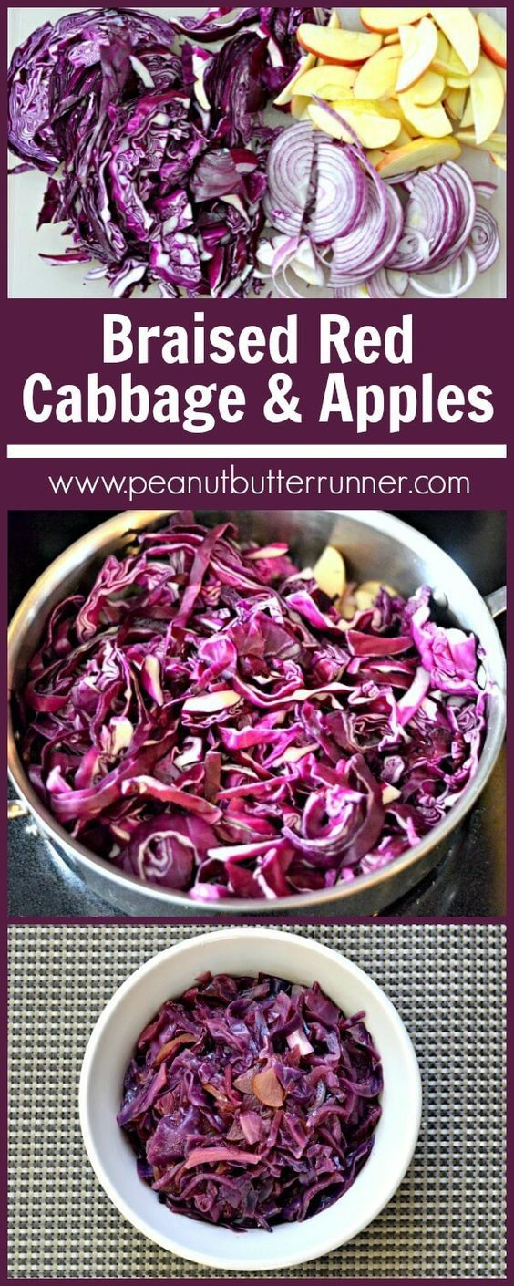 Braised red cabbage with red onion, apples and balsamic. Would try this in the slow cooker!
