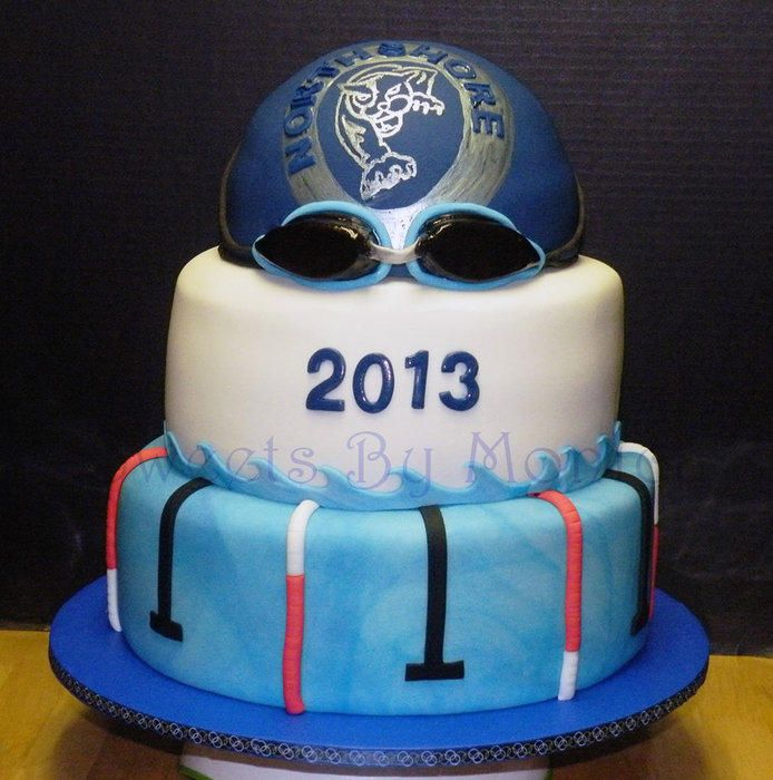 This cake was for the Northshore High School Panthers Swim Team in Slidell, LA. Top two tiers – Devil's Food Cake with Chocolate BC and Mini Chocolate Chip Filling Lower Tier – Almond Cake & BC