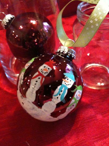Kids Hand Print Snowman Ornament