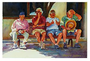 """Shady characters by Graham Berry Watercolor ~ 12"""" x 18"""""""