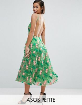ASOS PETITE SALON Floral Embroidered Backless Pinny Midi Prom Dress
