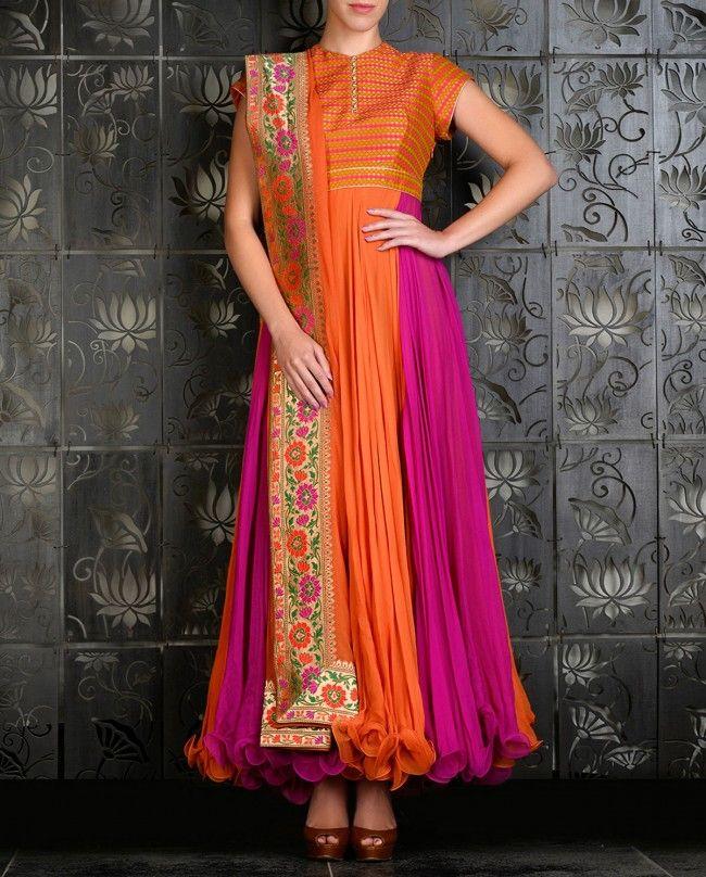 Orange and Fuchsia Anarkali with Brocade Yoke - Rohit Bal - Designers