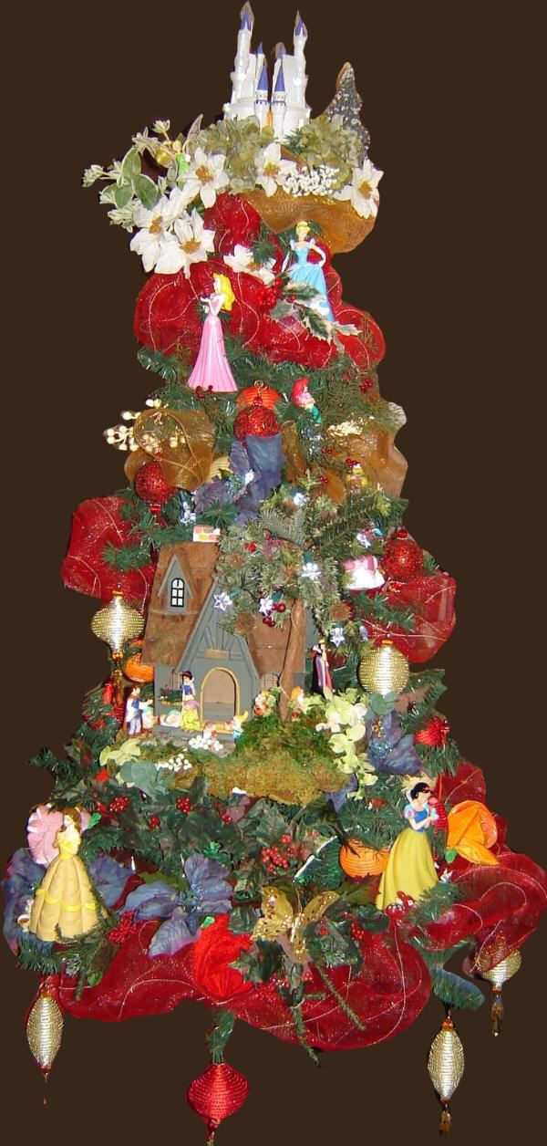 Royal Princess Christmas Tree decorated to includes the famous princesses and a fairy forest.