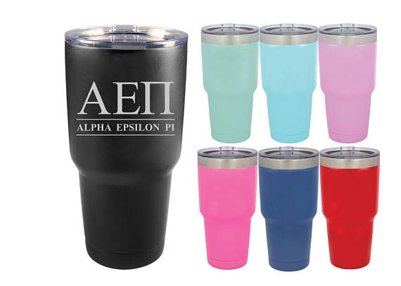 Alpha Epsilon Pi Tumbler  Letters and Name  AEPi  Engraved
