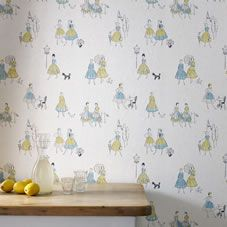 Contour Housewives Cream/Blue/Green Wallpaper 20-285