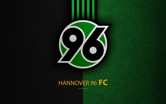Download wallpapers Hannover 96 FC, 4k, German football club, Bundesliga, leather texture, emblem, logo, Hannover, Germany, German Football Championships