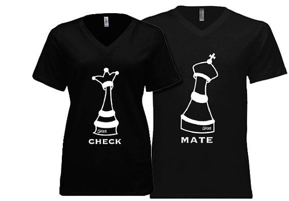 4b6d653ede Couple T-shirt - his and hers, Check Mate Chess theme. *Soft Cotton -  v-neck* Unique gifts for couples Valentine's, Anniversary, Wedding |  Campiversary ...