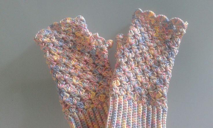 Fingerless crocheted cotton gloves for custom order