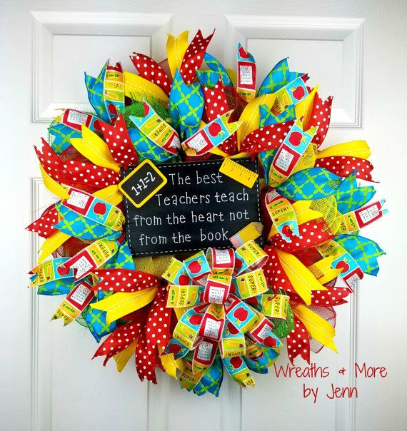 Teacher Wreath Back to School Wreath Deco by WreathsandmorebyJenn                                                                                                                                                     More