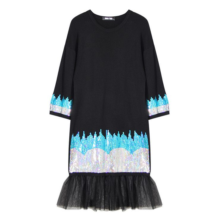 [TWOTWINSTYLE] 2016 Autumn Sequins Embroidery T shirt Women Dress Stitching Gauze New Black Clothing Fashion