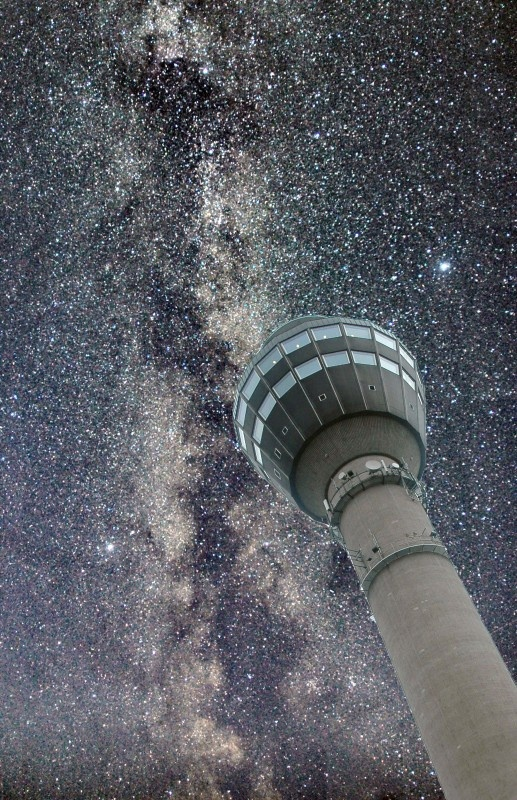 Milky Way and Puijo, Tower and restaurant is a 150 metres (490 ft) high hill, the famous landmark of city of Kuopio in Finland.