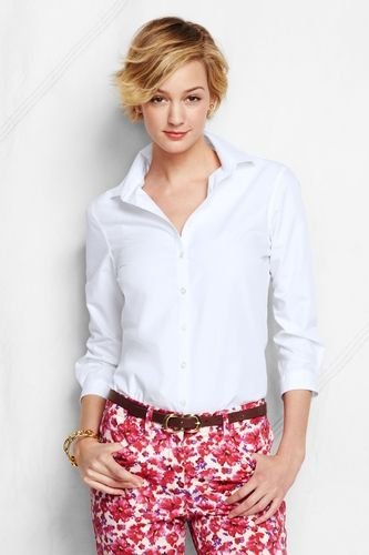 Women 39 s regular 3 4 sleeve solid supima no iron shirt for No iron white shirt womens