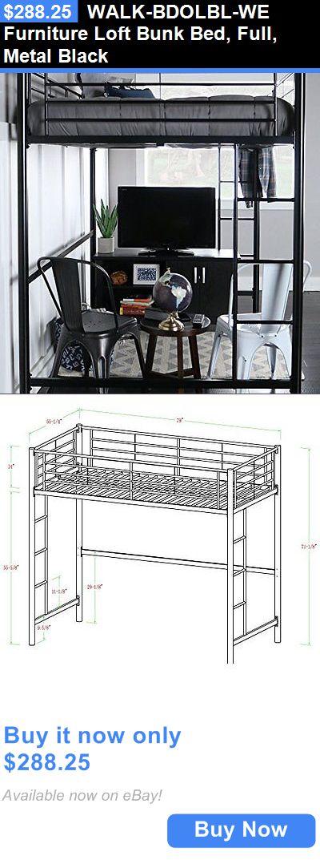 Kids Furniture: Walk-Bdolbl-We Furniture Loft Bunk Bed, Full, Metal Black BUY IT NOW ONLY: $288.25