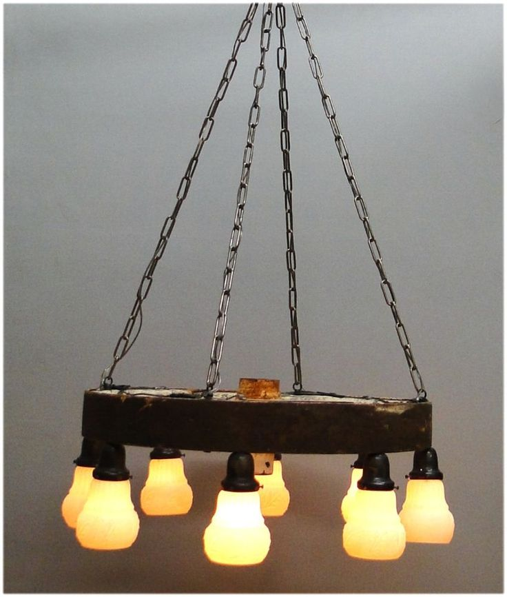 Big Antique Wagon Wheel Chandelier Wired Ready to Hang wood rust original  #Thekingsbay #Country