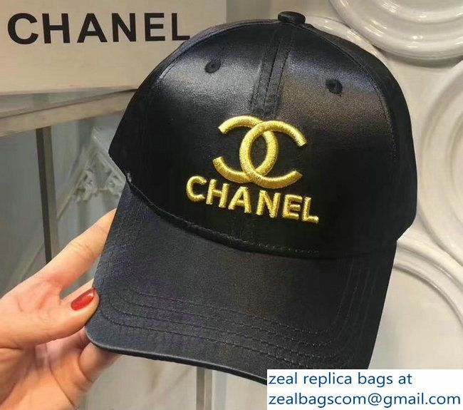 Chanel Gold Logo And Badge Black Baseball Hat Cap 2018 Black Baseball Hat Gold Logo Baseball Hats