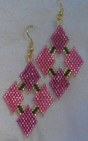 Delica Bead Earring Free Patterns | These beautiful brick stitch earrings