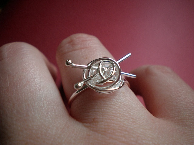 Silver Knitting Ring by wearthou on etsy
