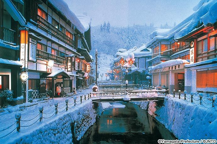 Winter view in snow of Ginzan Hot Spring in Obanazawa City, Yamagata Prefecture