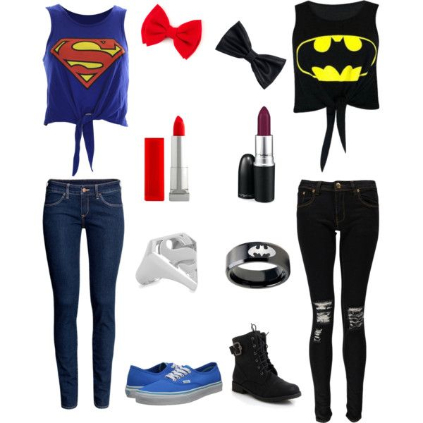 Superman vs Batman by grace181918 on Polyvore featuring Boohoo, H&M, Vans, Noir Jewelry, Maybelline and MAC Cosmetics