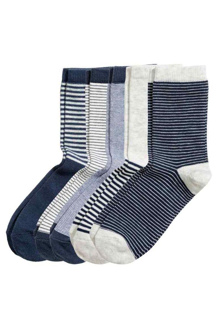 5 пар носков: Носки тонкой вязки из мягкого смесового хлопка. Сверху резинка.