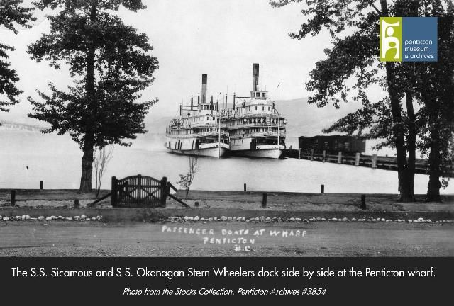 PMA #3854 - Sister Ships Sicamous and Okanagan beside the Penticton wharf and docks - Photo from the Lumb Stocks Photography Collection at the Penticton Museum and Archives.