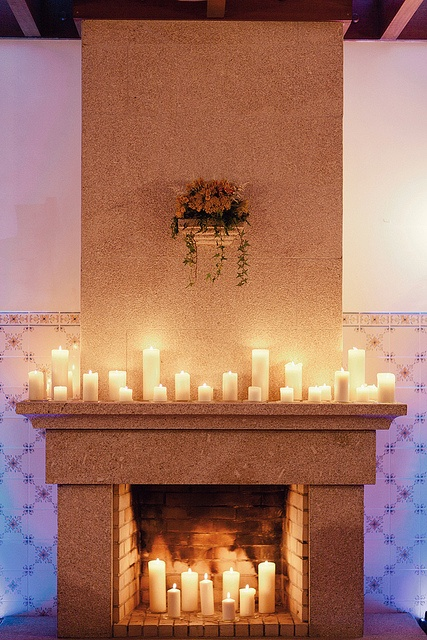 candles on fireplace mantle with a mirror would be
