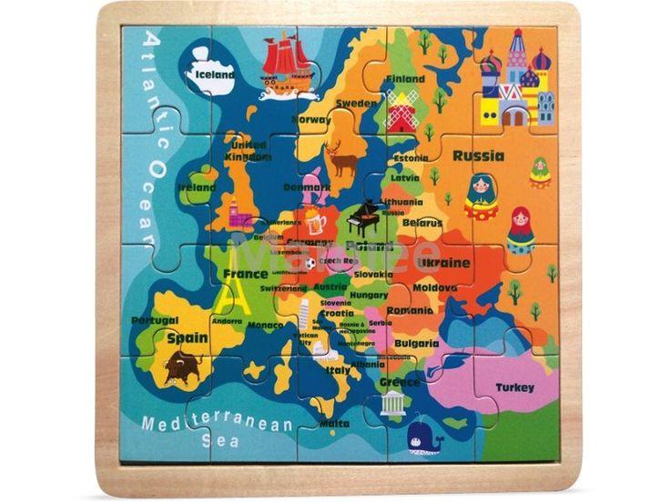 Puzzle mapa věta, zemeěpis, didaktická pomůcka Montessori geografie | Mamiee…