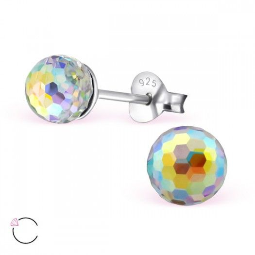 Silver Round Ear Studs With Crystals From Swarovski®