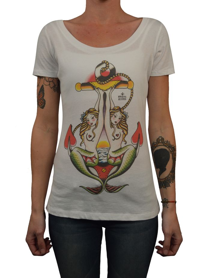 Women's Two Mermaids by Susana Alonso Traditional Tattoo Art T Shirt
