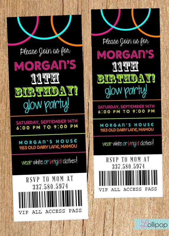 Neon+Glow+Party+Invitation+DIY+Printable+Ticket+by+LollipopInk,+$13.50