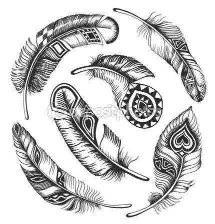 Conjunto vintage penas — Ilustração de Stock #31229175