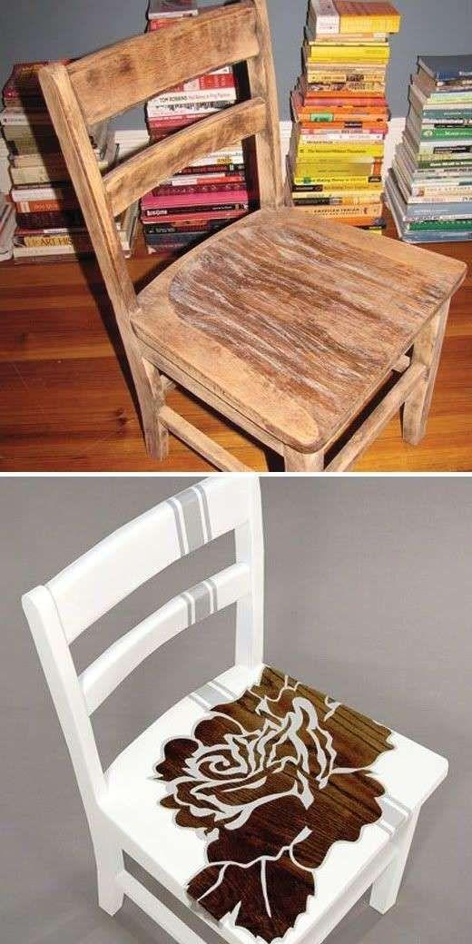 Decorare una sedia vecchia idea di decorazione idee per for Decorare sedia legno