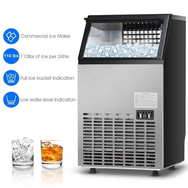 Built In Stainless Steel Commercial 110lbs 24h Ice Maker Portable Ice In 2020 Commercial Ice Maker Ice Maker Portable Ice Maker
