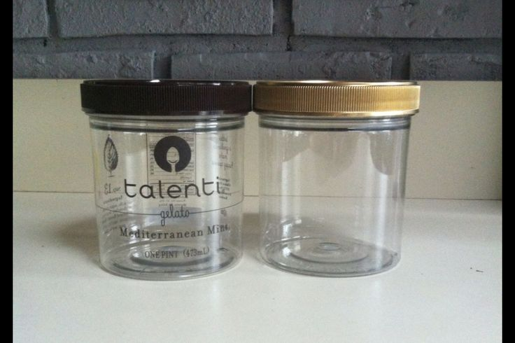 DIY  Gold lid Talenti gelato container. Just remove the letters with pure acetone.