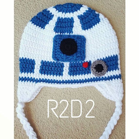 R2D2 Star Wars Crochet Hat Boy Girl Hand Made por HookedOnLayla