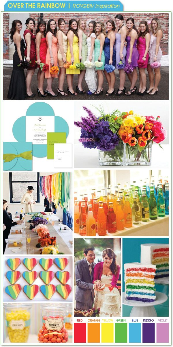 Over the Rainbow - ROYGBIV Inspiration :  wedding color schemes features Board3 Rainbow 031411 board3_rainbow_031411