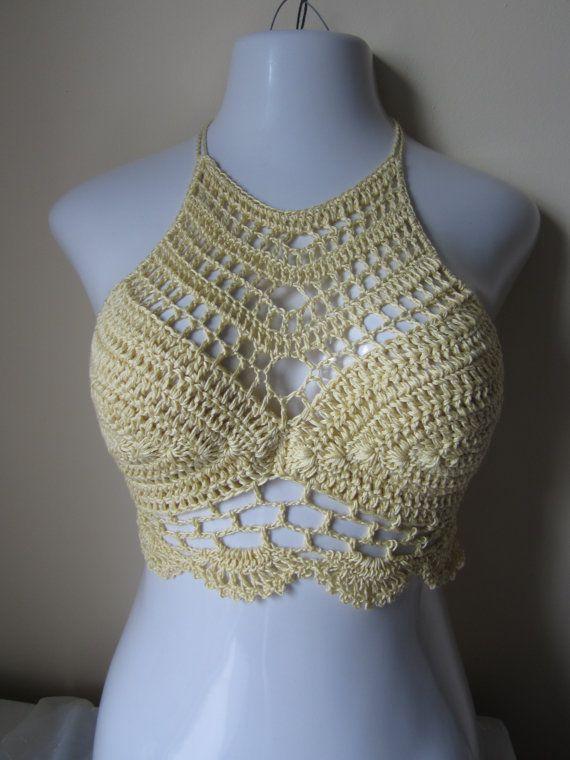 Crochet halter top festivalboho chic beach by Elegantcrochets, $49.00