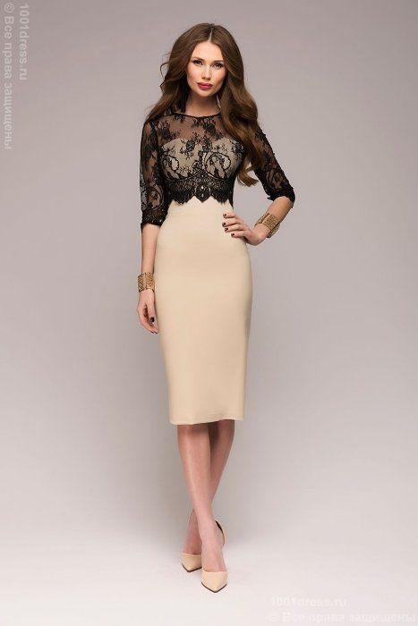 Бежевое платье-футляр с черным кружевным верхом 1