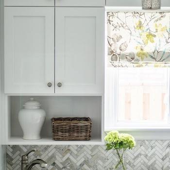 Marble Herringbone Tiles, Transitional, laundry room, Well Nested Interiors