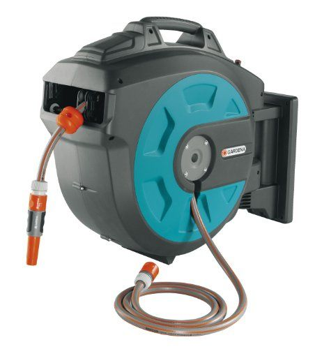 GARDENA 35 Roll-Up Swivel Wall-Mounted Automatic Hose Box with 115-Feet of 1/2-Inch Convenient Hose Guide
