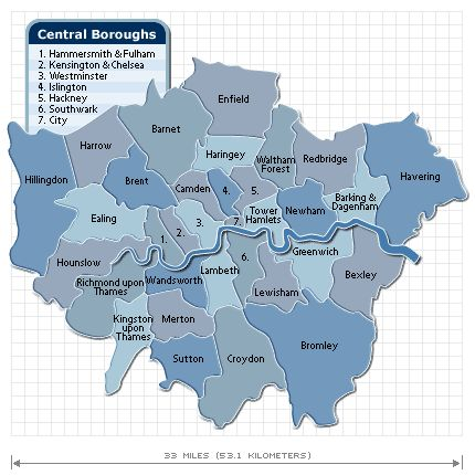The 33 London Boroughs and a little about each one, handy if you are coming to London and want the best place for you to stay