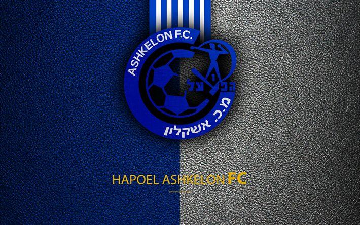 Download wallpapers Hapoel Ashkelon FC, 4k, football, logo, emblem, leather texture, Israeli football club, Ligat HaAl, Ashkelon, Israel, Israeli Premier League
