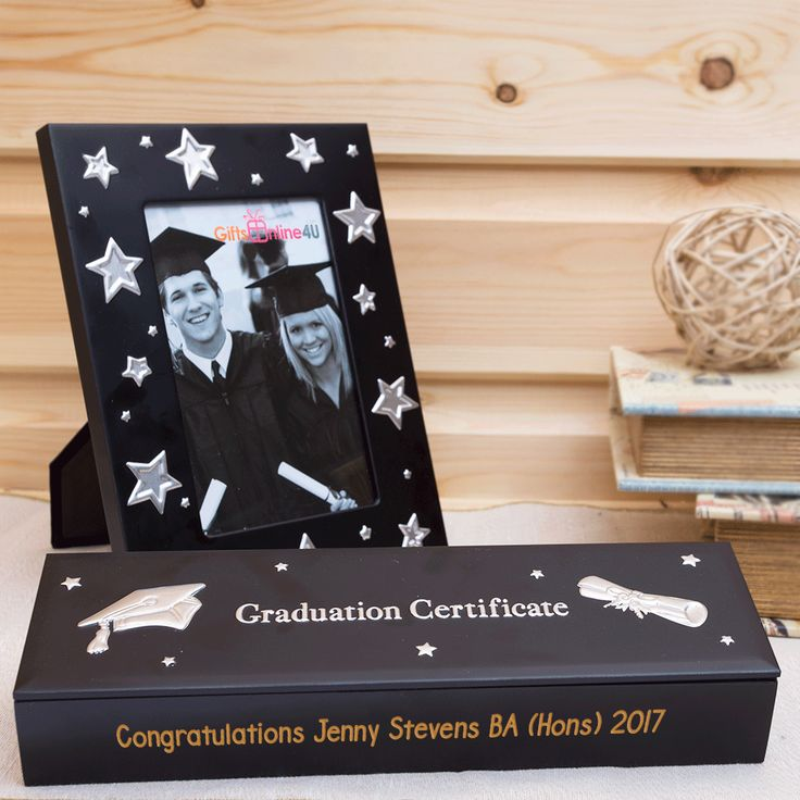 Engraved Graduation Certificate Holder With Photo Frame
