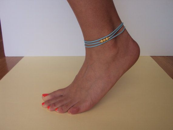 Turquoise Beach Anklet  Gold Foot Jewelry   by VasiaAccessories