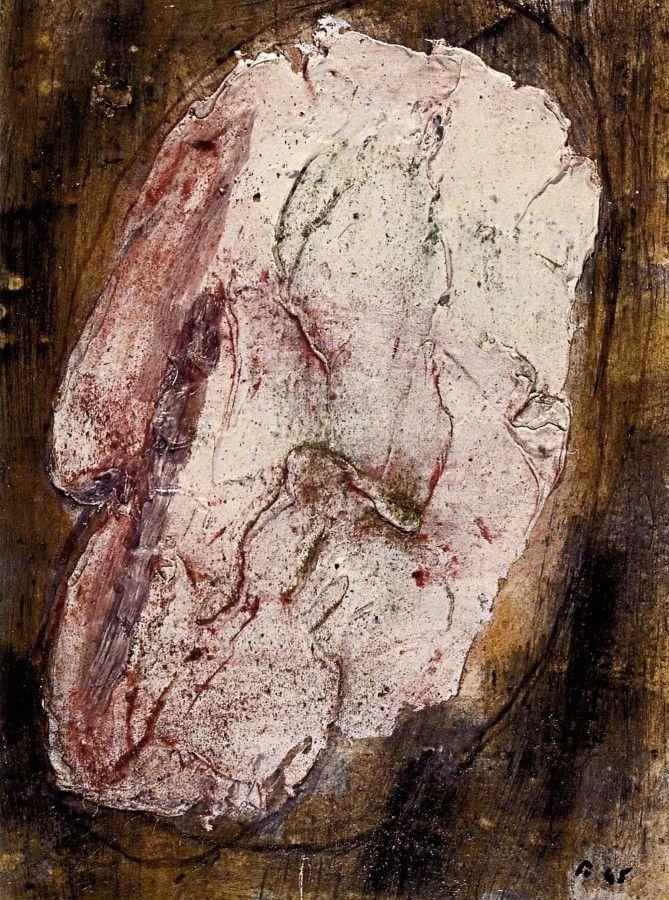 jean fautrier   Jean Fautrier « Otage n°3″, 1945. Huile sur papier marouflé sur ...