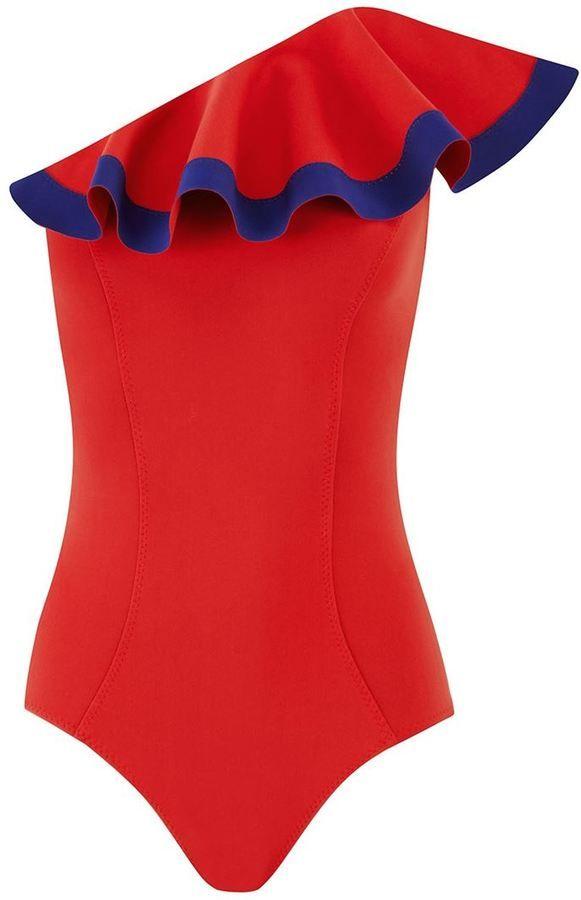 €427, Roter Badeanzug von Lisa Marie Fernandez. Online-Shop: farfetch.com. Klicken Sie hier für mehr Informationen: https://lookastic.com/women/shop_items/272426/redirect
