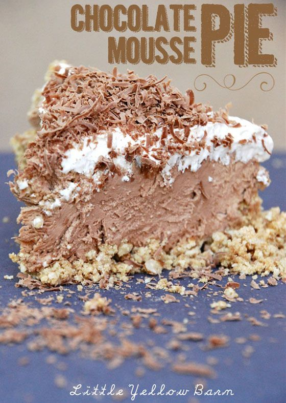Chocolate Mousse Pie - OMG Chocolate Desserts: did not make the crust; rather put filling in mini phyllo pies. Filling was spectacularly good and will definitely be making it again and again...