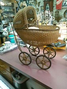 Baby-Carriage-Buggy-Antique-Doll-Wicker-Stroller-Pram-Victorian-Canopy-Convertib