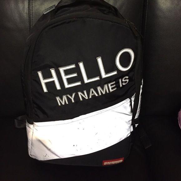 Hello my name is sprayground reflective backpack Spray ground reflective backpack with sunglasses compartment, laptop compartment, iPad compartment, side compartments, front compartment, and a secret compartment. Limited edition hello my name is Sprayground Accessories